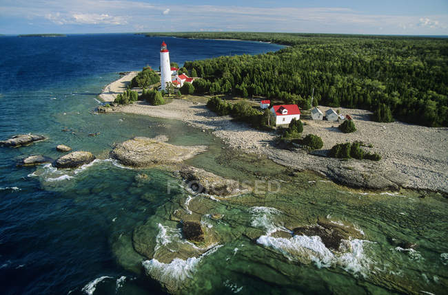 Aerial view of Cove Island lighthouse on Bruce Peninsula, Ontario, Canada. — стокове фото
