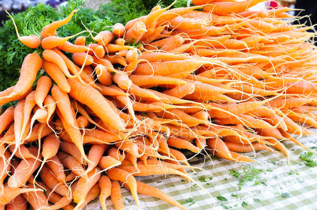 Farm fresh bunches of carrots on table — Stock Photo