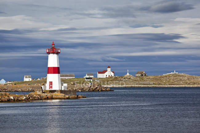 Pointe-aux-Canons lighthouse of Saint-Pierre-et-Miquelon, Newfoundland, Canada — Stock Photo