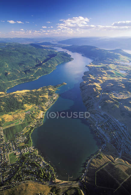 Aerial view of Kalamalka Lake, Okanagan, British Columbia, Canada. — Stock Photo
