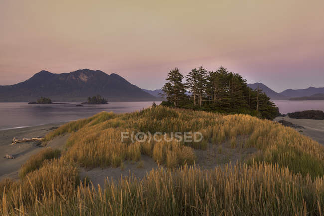 Whaler Islet with coastal mountains of Vancouver Island at dusk, Clayoquot Sound, British Columbia, Canada. — Stock Photo