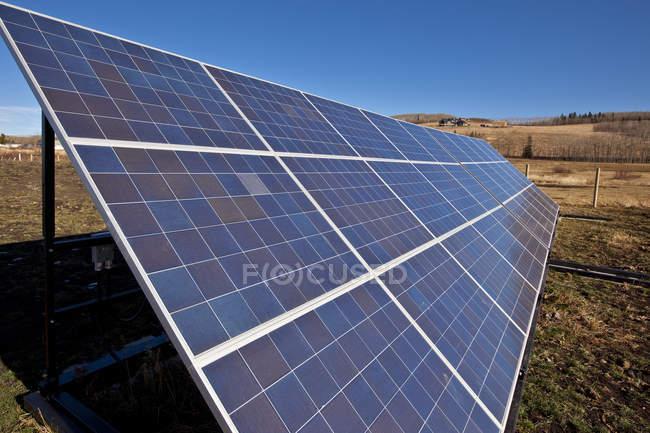 Solar panels on farm near Black Diamond, Alberta, Canada. — Stock Photo