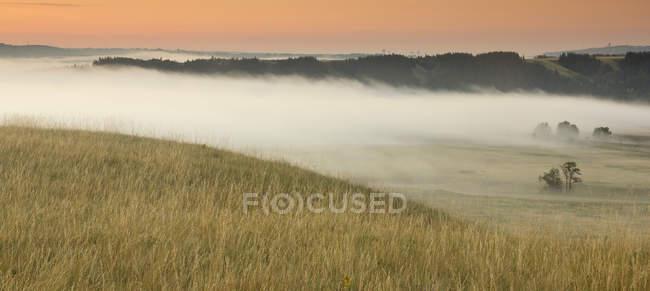Névoa sobre fazendas de Glenbow Ranch Provincial Park, Alberta, Canadá — Fotografia de Stock
