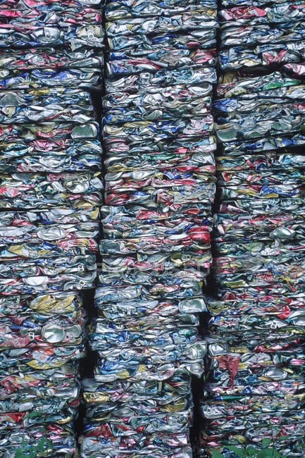 Recycling crushed collection of aluminium cans, full frame — Stock Photo