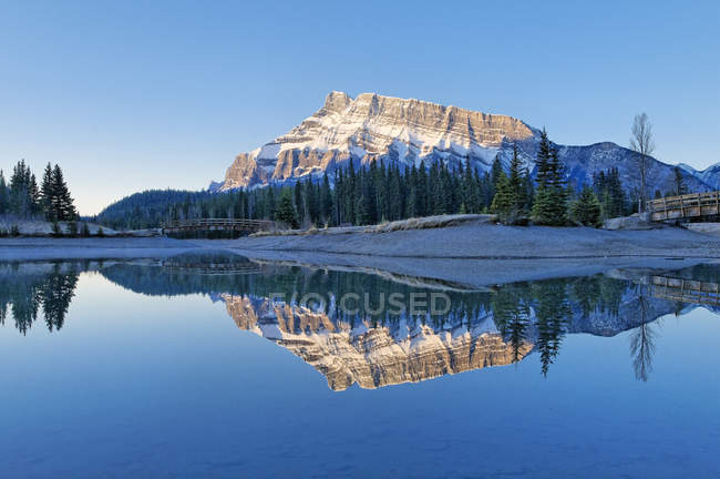 Mount Rundle reflecting in Cascade Pond, Banff National Park, Alberta, Canada. — Stock Photo