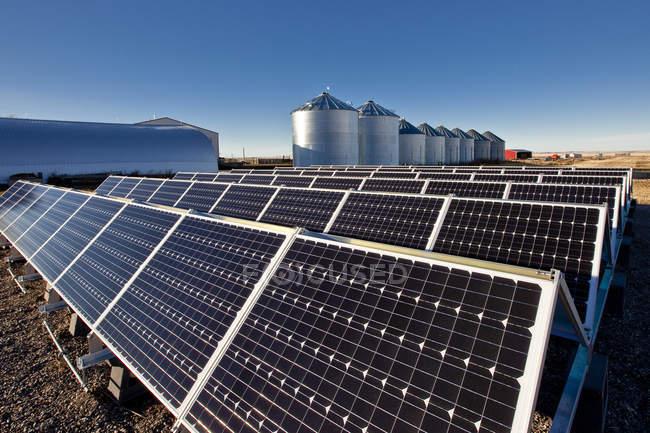 Solar panels on farm near Calgary, Alberta, Canada. — Stock Photo