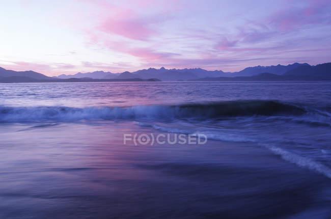 Rivage de l'île baleinier au crépuscule, Clayoquot Sound, île de Vancouver, Colombie-Britannique, Canada. — Photo de stock