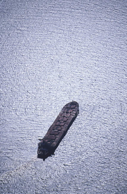 Aerial view of cargo ship in water in British Columbia, Canada. — Stock Photo