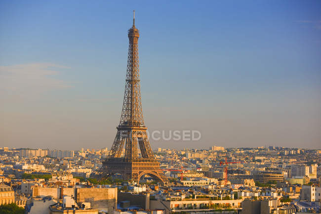 High angle view of Eiffel Tower and cityscape of Paris, France. — Stock Photo
