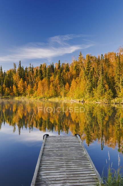 Pier de madeira e folhagem outonal de árvores florestais Dickens Lake, Northern Saskatchewan, Canadá — Fotografia de Stock