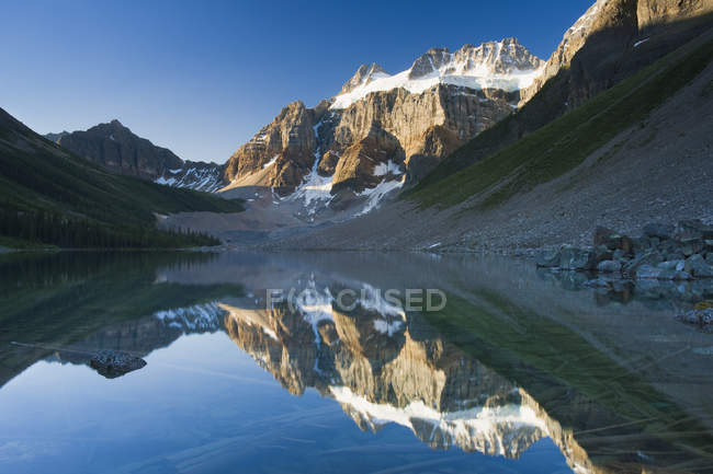 Mount Fay reflection in water of Lower Consolation Lake, Banff National Park, Alberta, Canada — Stock Photo