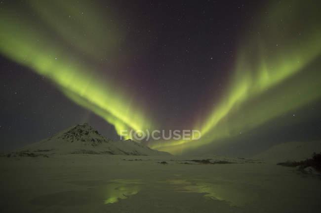 Grüne Nordlicht in dunklen Nachthimmel unter Dempster Highway, Yukon, Kanada. — Stockfoto