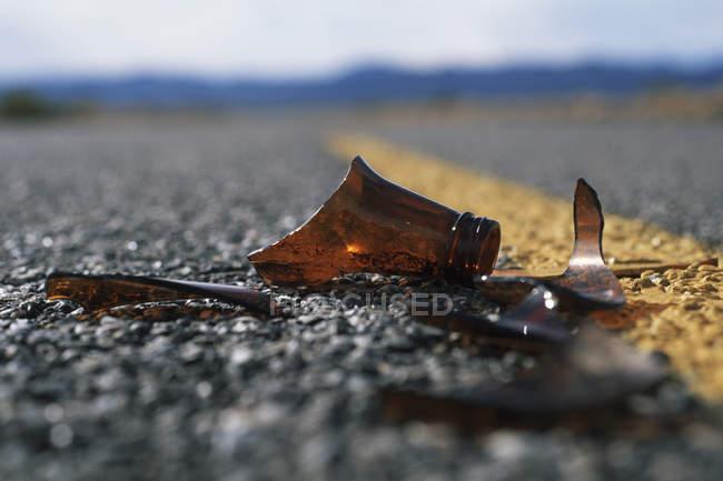 Splinters of broken brown bottle on road — Stock Photo