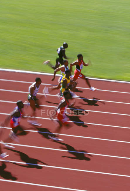 100-Meter-Sprint bei Streckenwettbewerb in Bewegung, Britisch-Kolumbien, Kanada. — Stockfoto