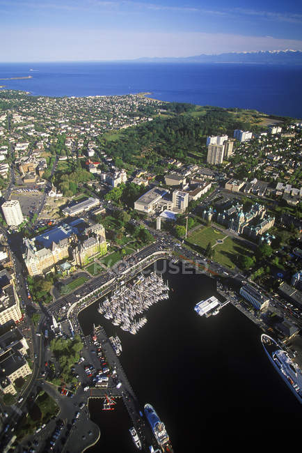 Aerial view of Victoria port on Vancouver Island, British Columbia, Canada. — Stock Photo