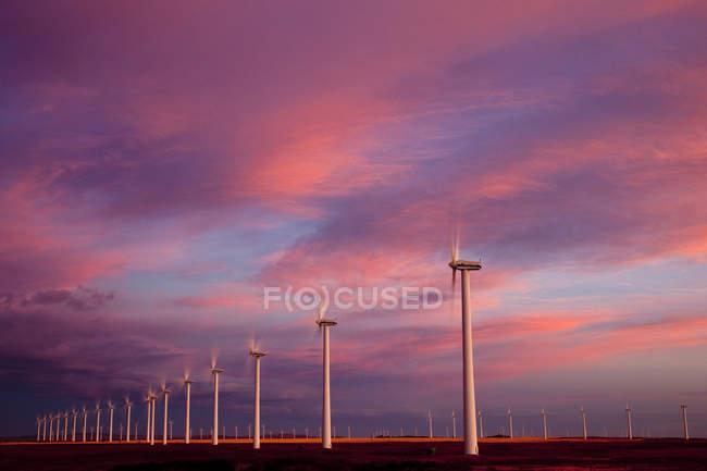 Ветряные мельницы, работающие на рассвете возле форта Маклауд, Альберта, Канада . — стоковое фото
