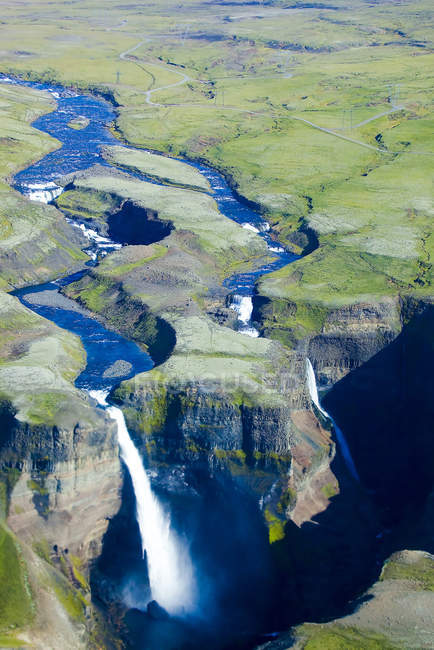 Aerial view of flowing Haifoss Waterfall, Iceland — Stock Photo