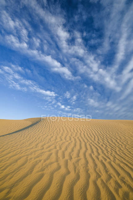 Sand dunes in Great Sandhills under cloudy sky near Sceptre, Saskatchewan, Canada. — Stock Photo