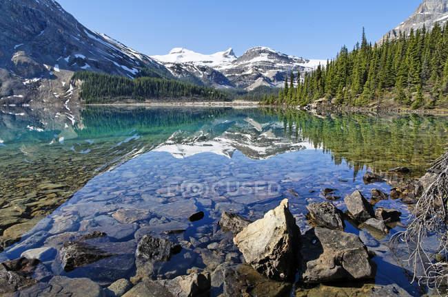 Скелястий берег Льодовикові озера лук, Banff Національний парк, Альберта, Канада — стокове фото