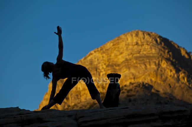 Donna pratica dello yoga con il cane sulla Red Rocks, Las Vegas, Nevada, Stati Uniti d'America — Foto stock