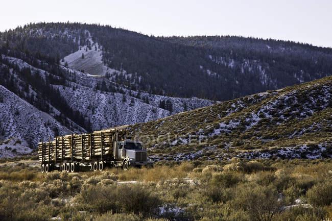 Camion bûcheron sur route rurale à Farwell Canyon en Colombie-Britannique, Canada . — Photo de stock