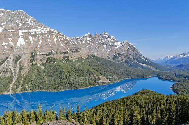 Vista panorâmica das montanhas cobertas de neve e turquesa Peyto Lake, Parque Nacional de Banff, Alberta, Canadá — Fotografia de Stock