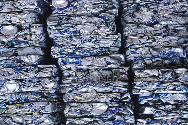 Recycling of crushed collection of aluminium cans, full frame — Stock Photo