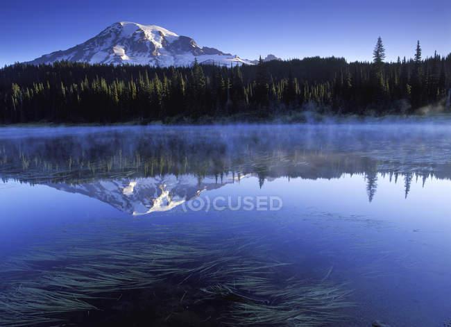 Berg reflektiert in Reflexion Seewasser, Mount Rainier Nationalpark, USA — Stockfoto