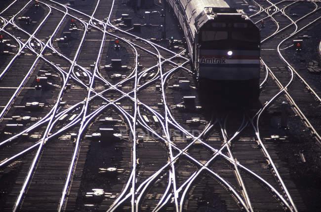 Висока кут зору потяг на станція Союзу, Торонто, Онтаріо, Канада. — стокове фото