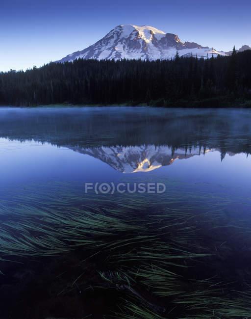 Aube sur le lac de réflexion dans le Parc National de Mount Rainier, Usa — Photo de stock