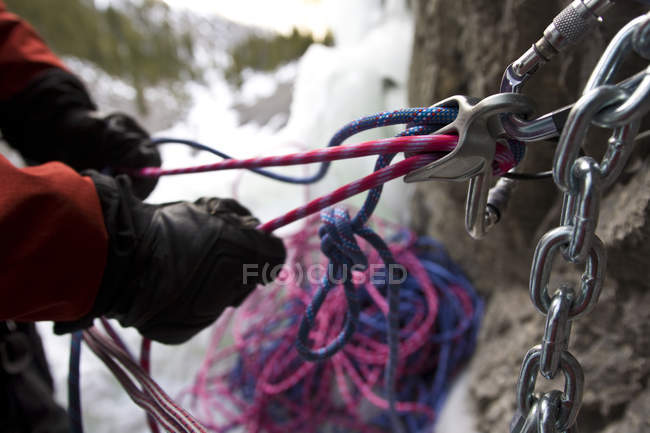 Close-up of ice climber belaying ropes, Ghost River, Rocky Mountains, Alberta, Canada — Stock Photo