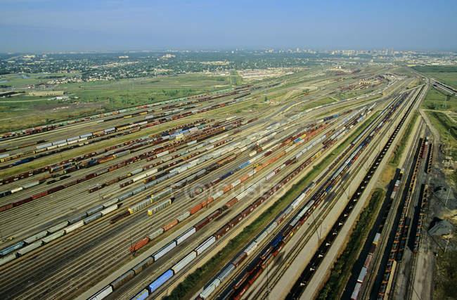 Veduta aerea di occupato cantiere ferroviario a Winnipeg, Manitoba, Canada . — Foto stock