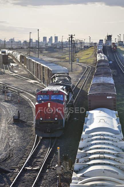 Symington Yard of Canadian National rail yard in Winnipeg, Manitoba, Canada — Stock Photo