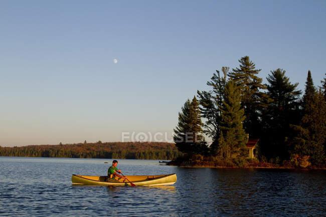 Hombre remando la canoa en el lago de la fuente, Algonquin Park, Ontario, Canadá. - foto de stock