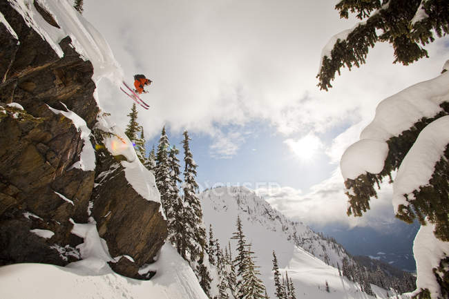 Falaise de chute freeskier mâle dans l'arrière-pays à Revelstoke mountain resort, Canada — Photo de stock