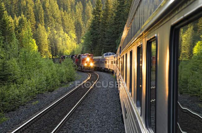 Восточный грузовой поезд встречает западный пассажирский поезд в Британской Колумбии, Канада . — стоковое фото