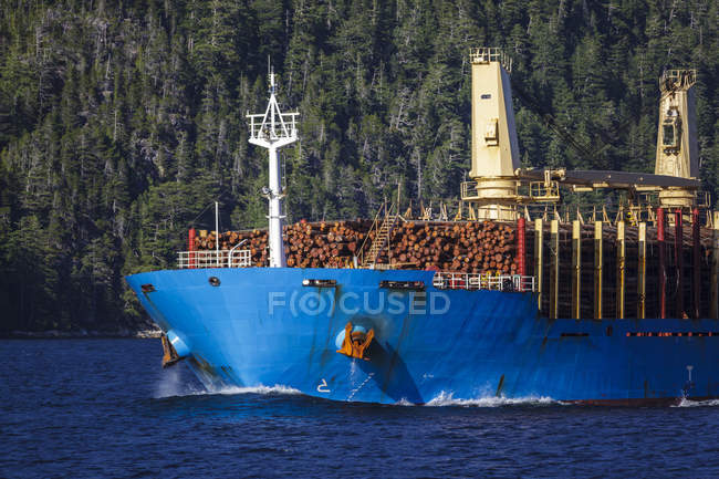 Tanker ship transporting raw logs export from British Columbia, Canada. — Stock Photo