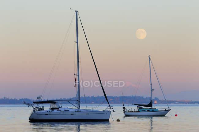 Полнолуние над парусниками в заливе Милл, остров Ванкувер, Британская Колумбия, Канада — стоковое фото
