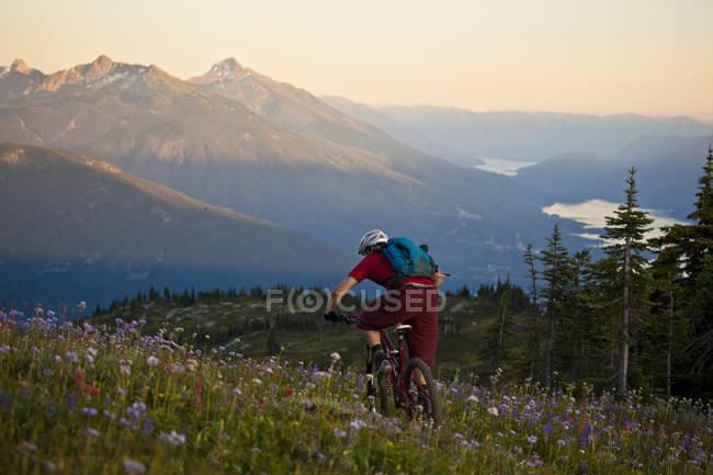Bicicleta de montaña macho montando sendero alpino Frisby Ridge en Revelstoke, Columbia Británica, Canadá - foto de stock