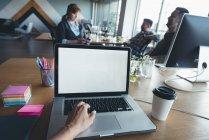Empresario que utiliza el ordenador portátil mientras que los colegas tienen discusión en la oficina - foto de stock