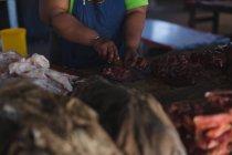 Section médiane de viande de boucherie coupe au comptoir en boucherie — Photo de stock