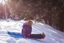 Niedliche Mädchen spielen im Schlitten im winter — Stockfoto
