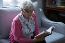 Senior woman reading a book at home — Stock Photo