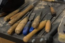 Close-up of various tools in workshop — Stock Photo