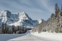 Snowy road through snow capped mountain during winter — Stock Photo