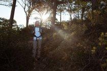 Старший мандрівного прогулянки з рюкзак в лісі в сільській місцевості — стокове фото