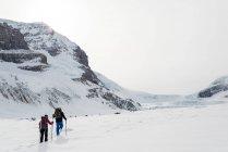 Пара, прогулки по снегу capped горы в зимнее время — стоковое фото