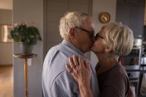Senior couple kissing in kitchen at home — Stock Photo