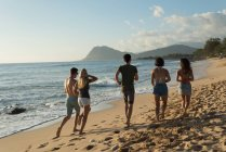 Группы друзей работает на пляже в сумерках — стоковое фото