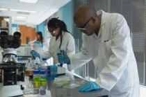 Vue latérale de deux scientifiques faisant des expériences en laboratoire — Photo de stock